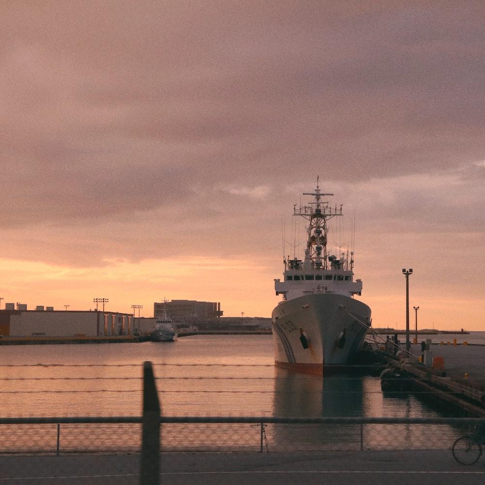 white ship on boatyard