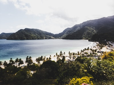 calm body of water near mountain at daytime trinidad and tobago zoom background