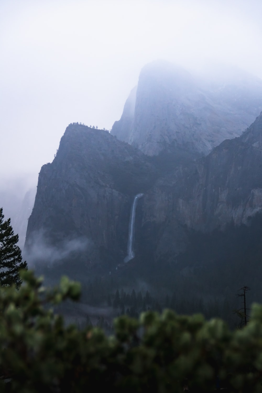 waterfall in mountain cliff
