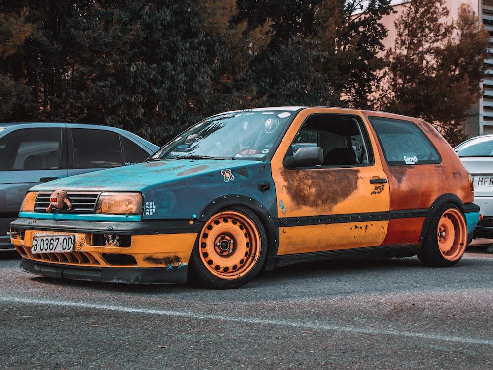 parked orange car