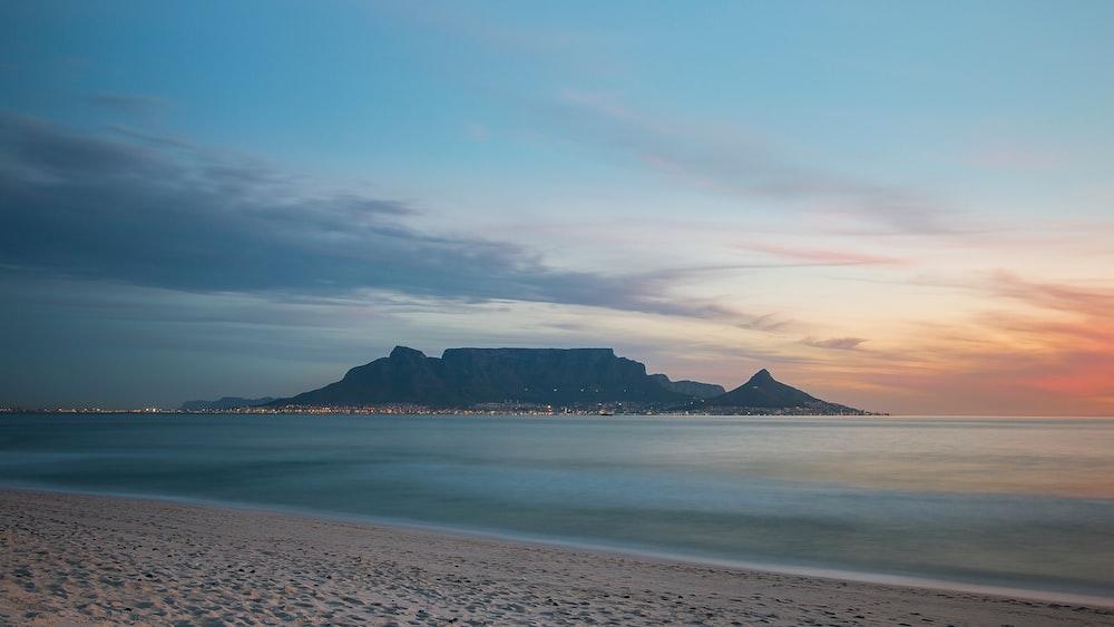 sandy beach at sunset