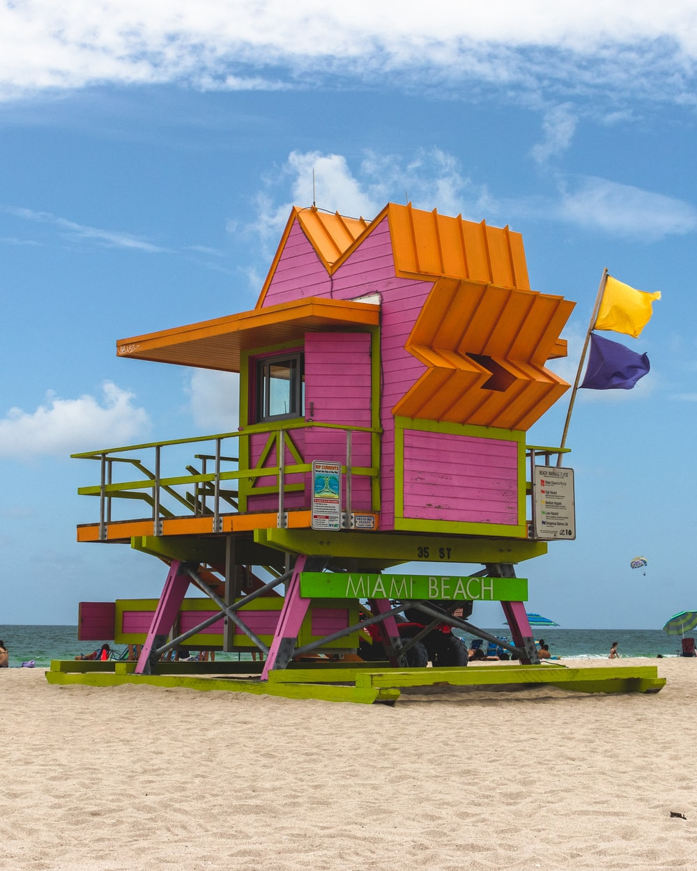 Pink And Yellow Miami Beach Guard House