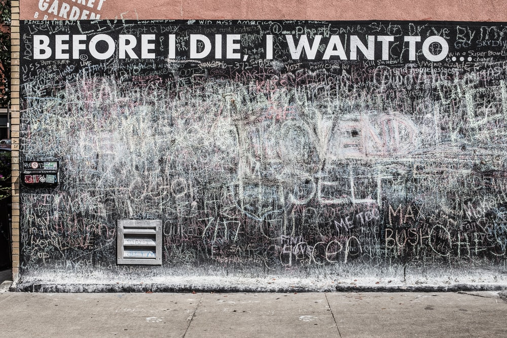 before i die, i want to text overlay