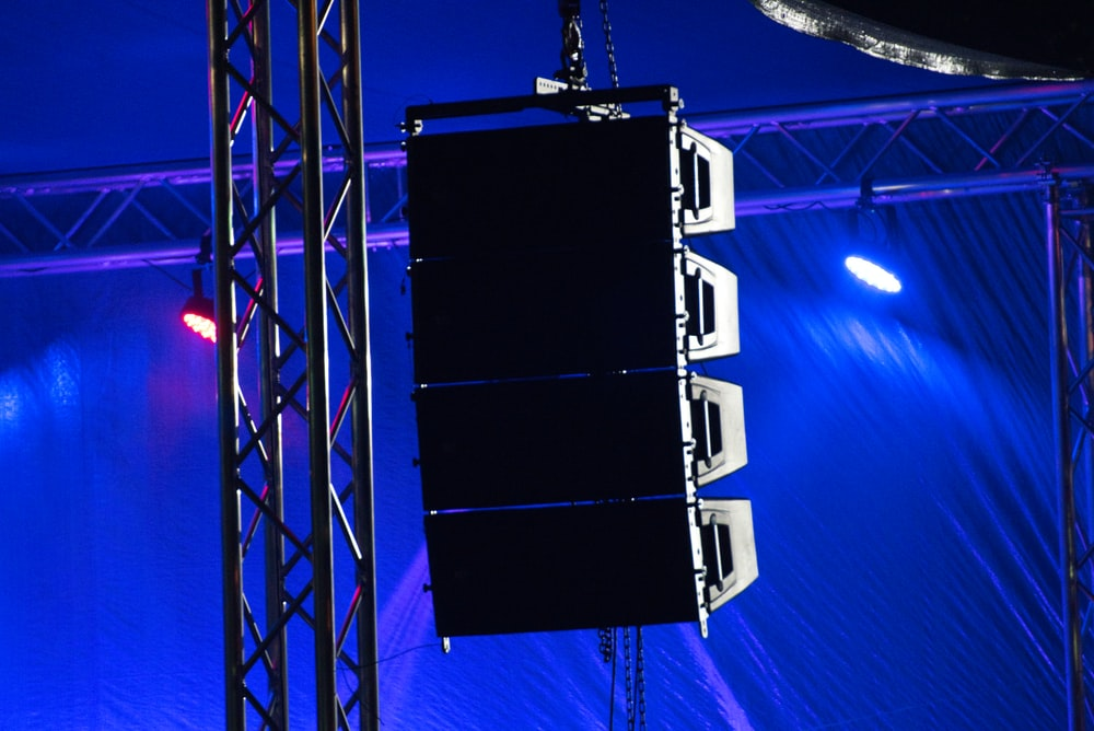 close-up photo of hanging speaker