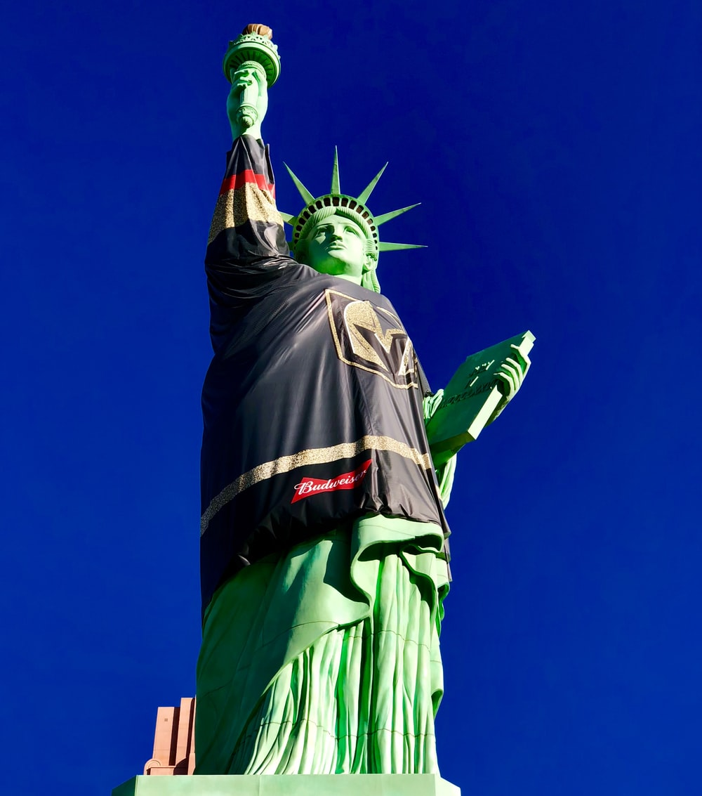 Statue of Liberty wearing black flag