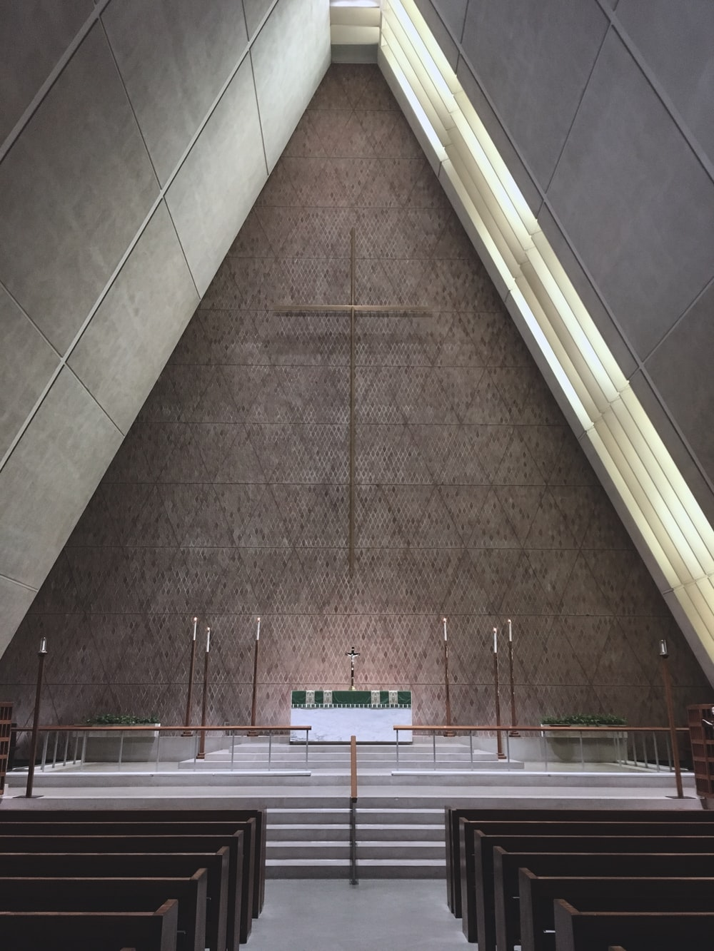 brown cross in church