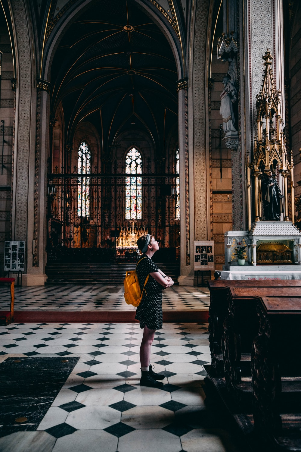 woman in cathedral