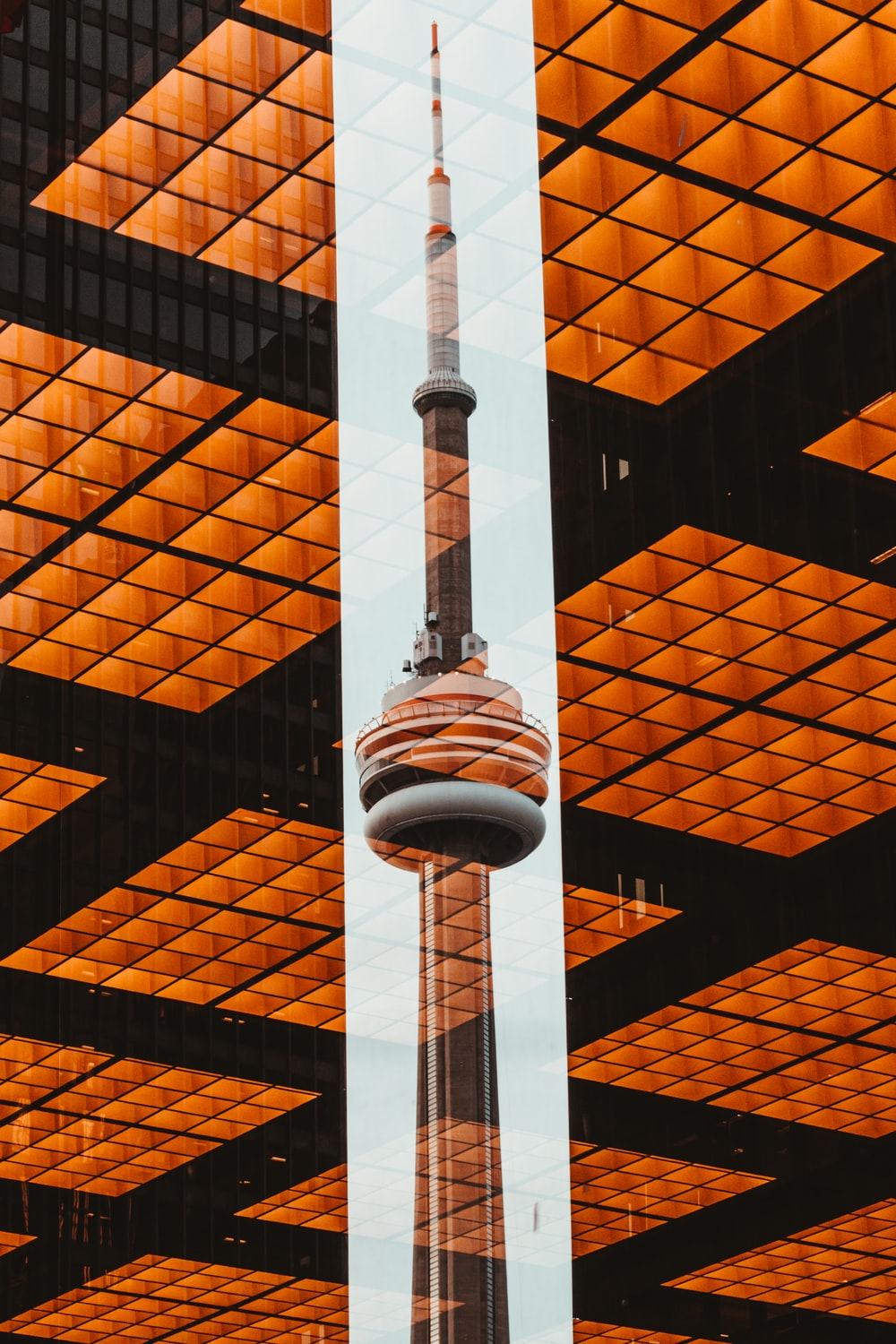 CN tower view between two high rise building