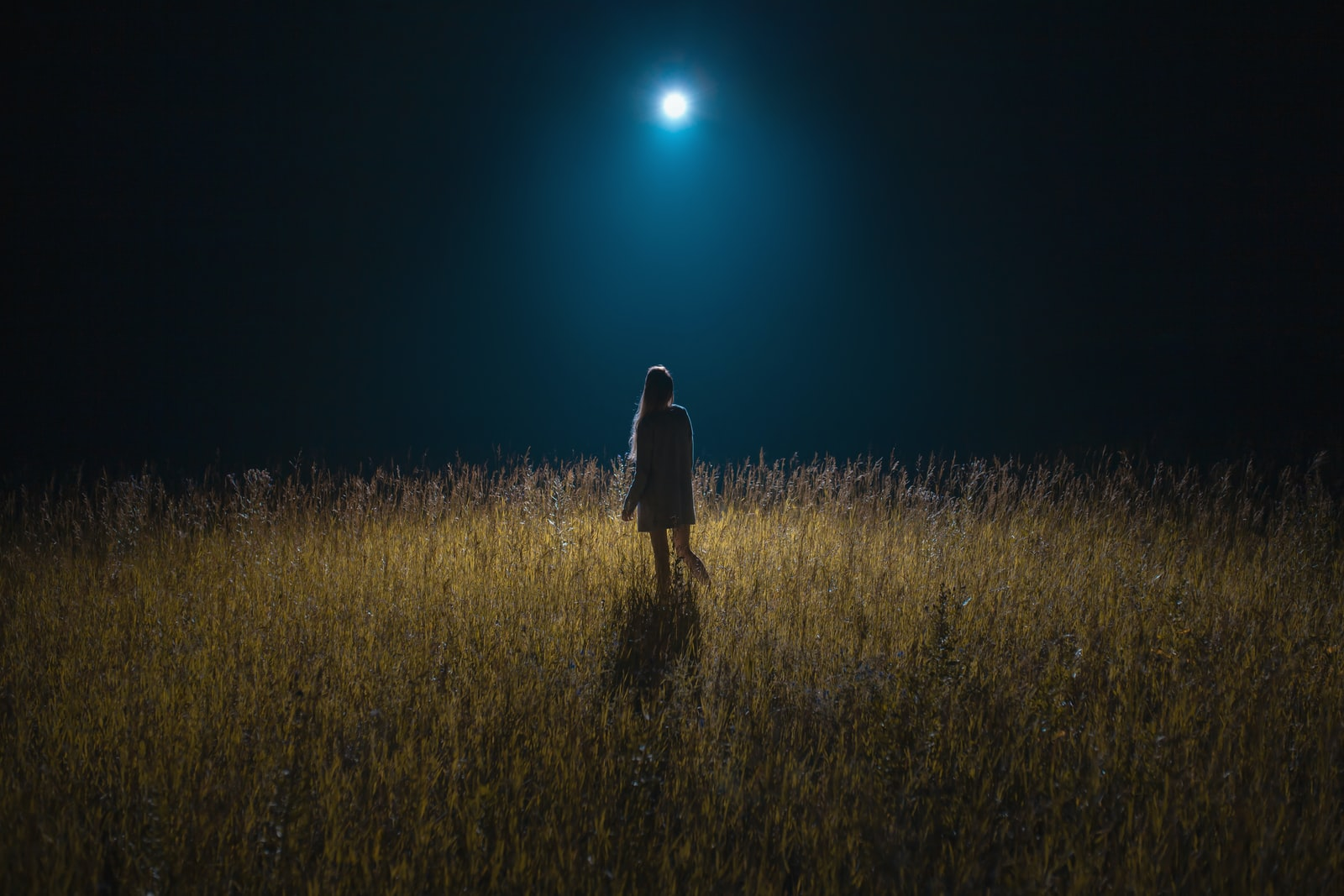 A person standing in a dark field