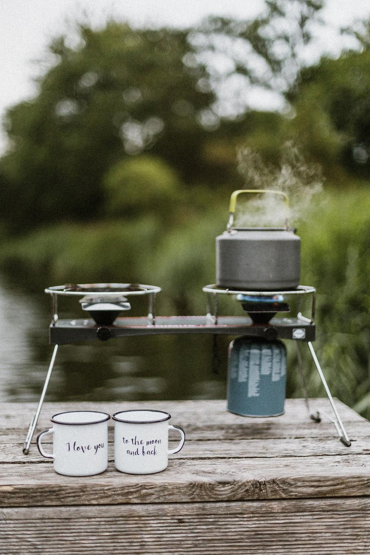 gray portable boiler over the table