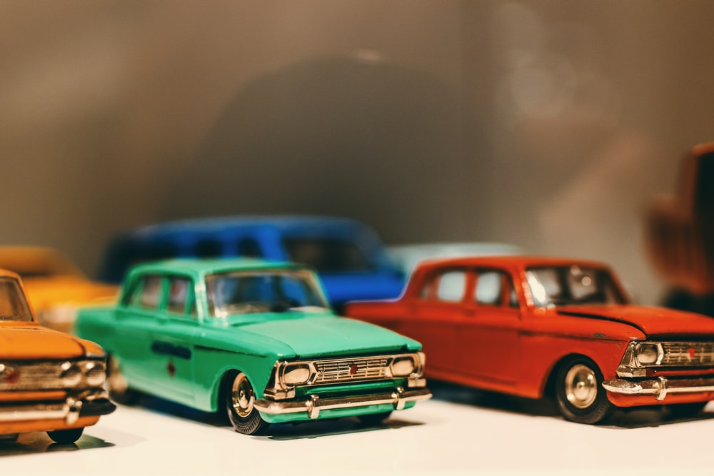 model toy cars in assorted colors