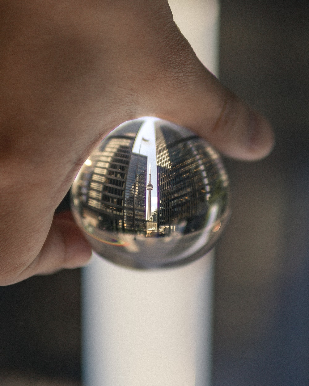 person holds clear ball