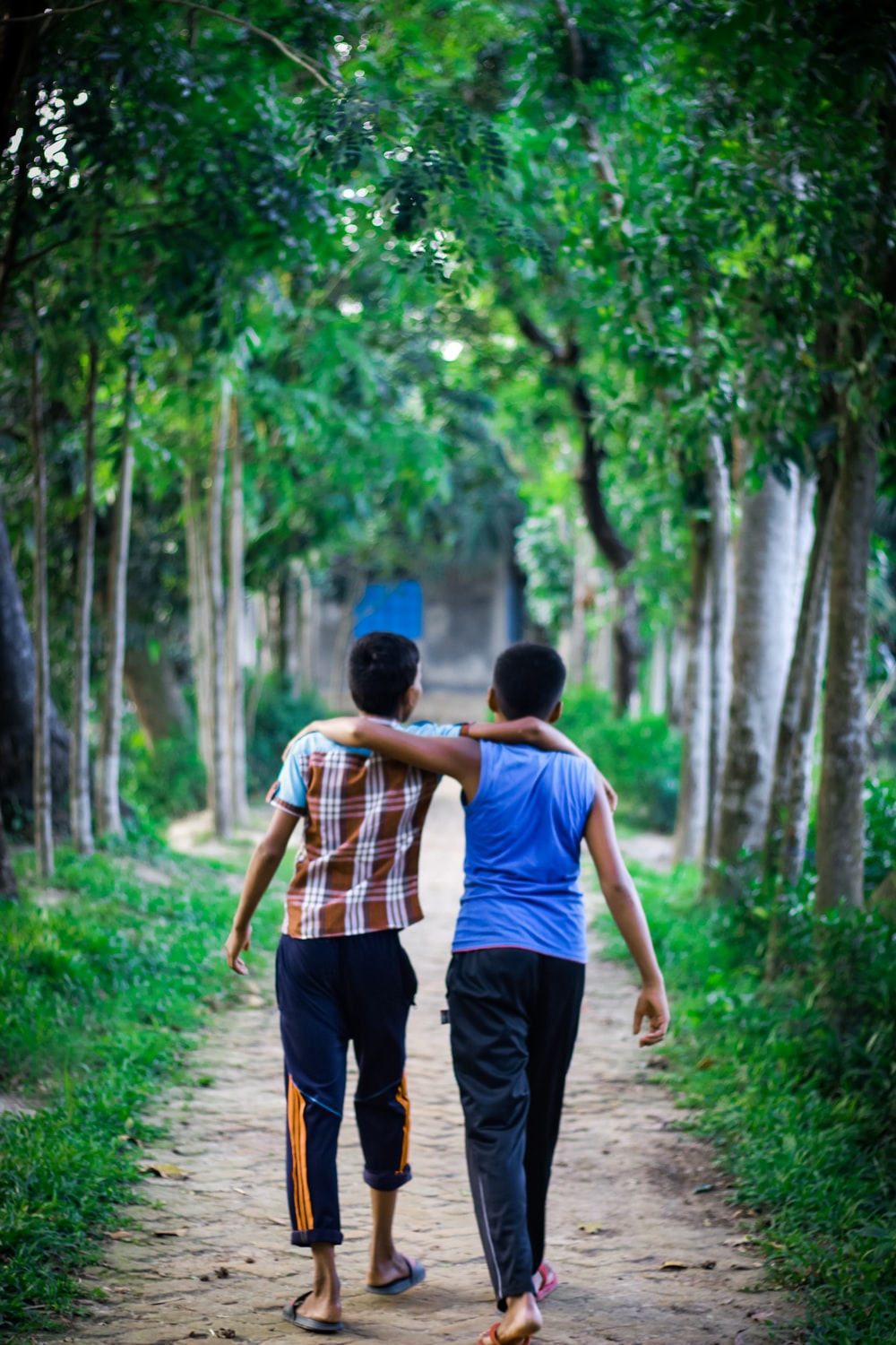 two boys with arms on their shoulder walking on rough pathway