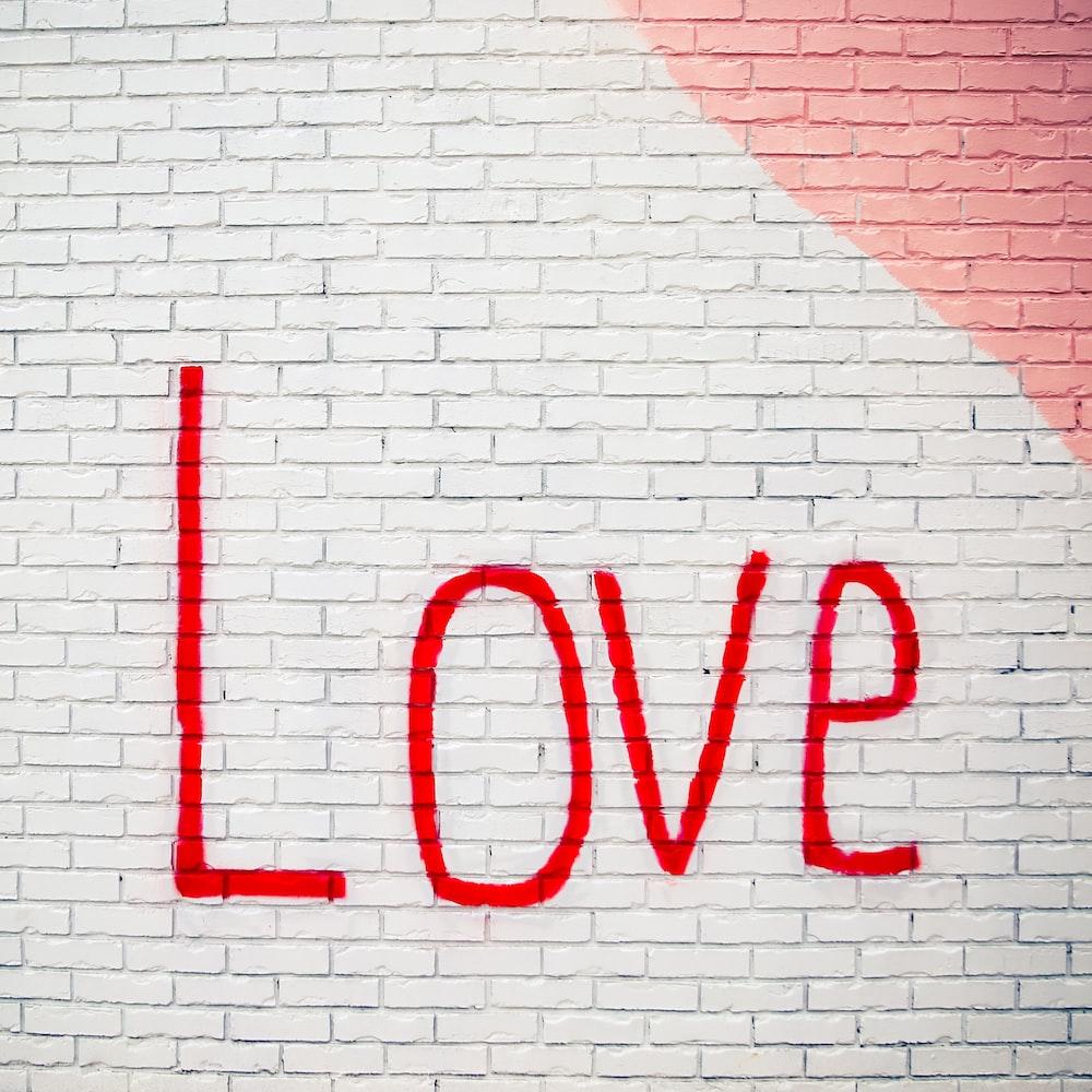 love printed wall