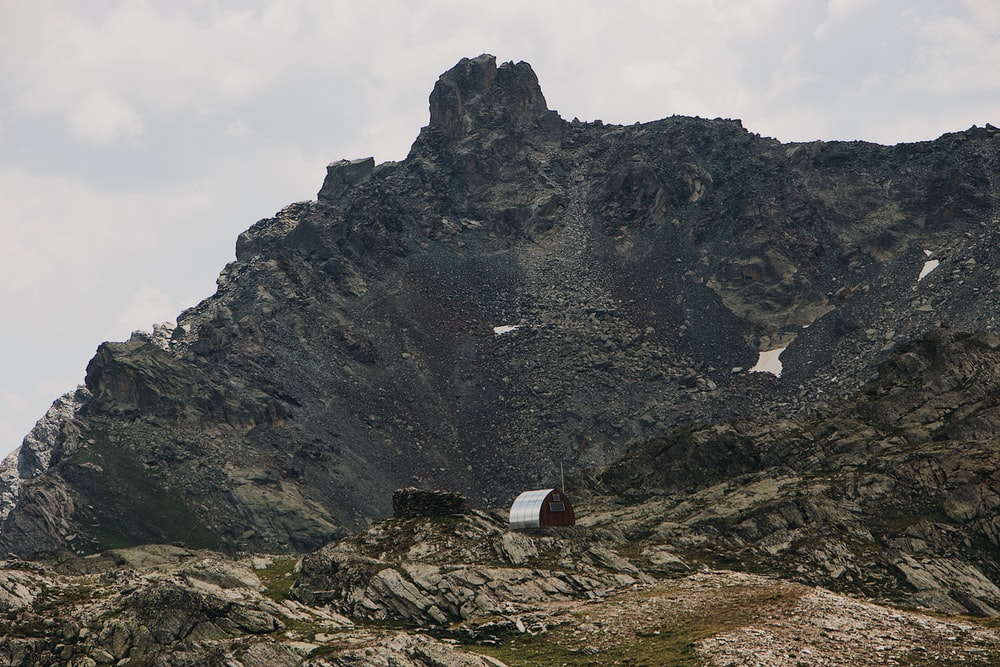 black and gray mountain selective photography