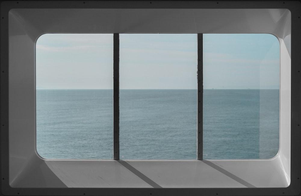 gray steel window frame