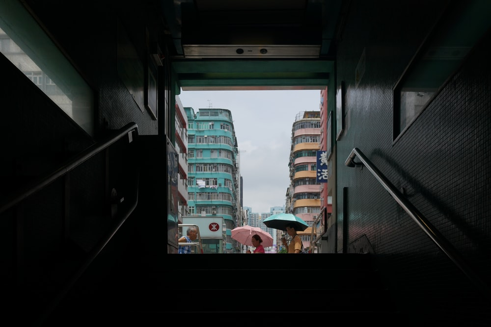 view of buildings in underpass