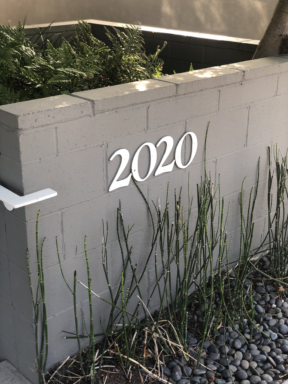 2020 number sign on gray concrete wall