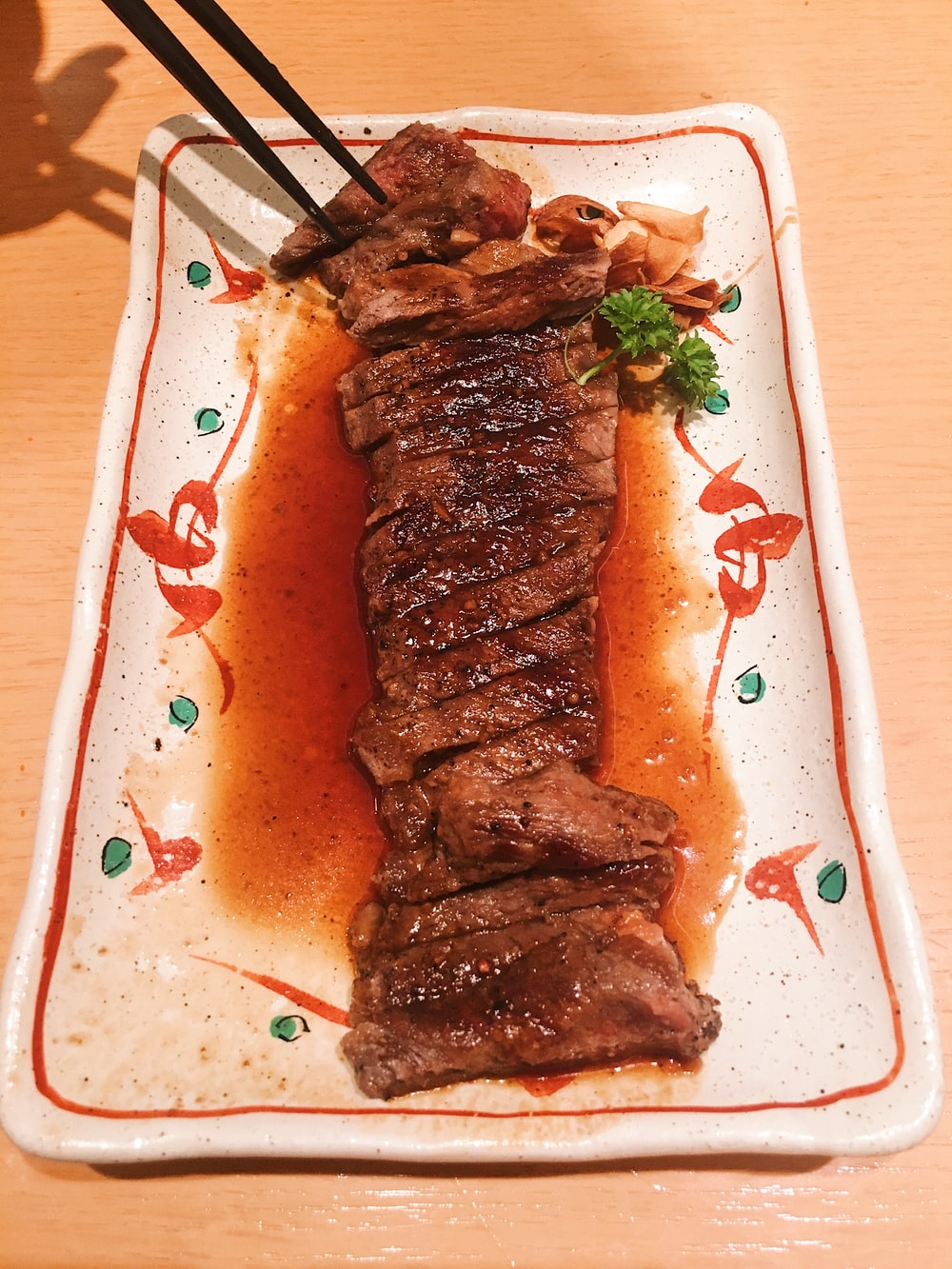grilled meat slices on plate