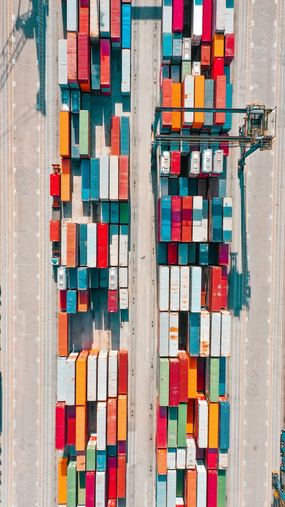 bird's-eye view of assorted-colored freight containers