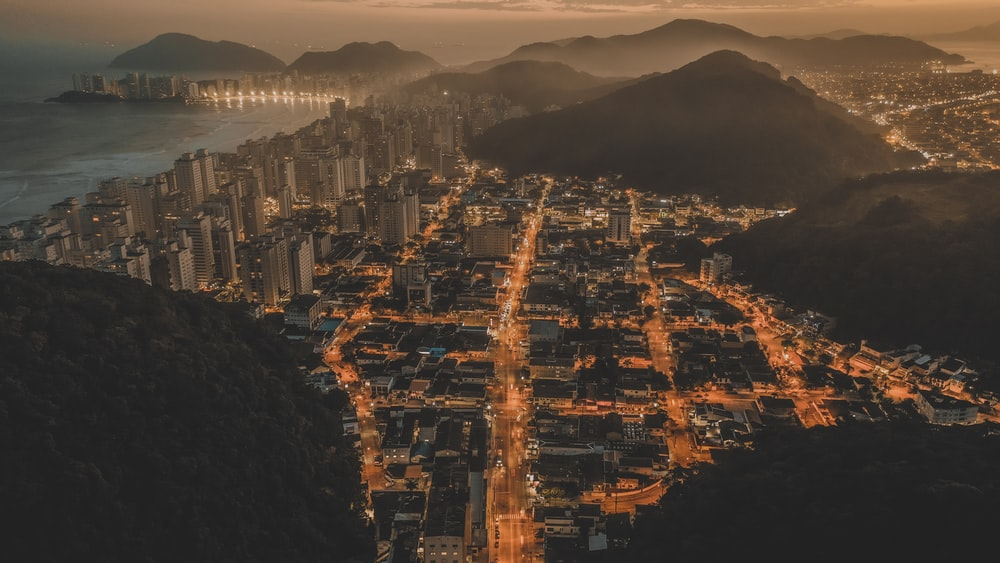cityscape during night time