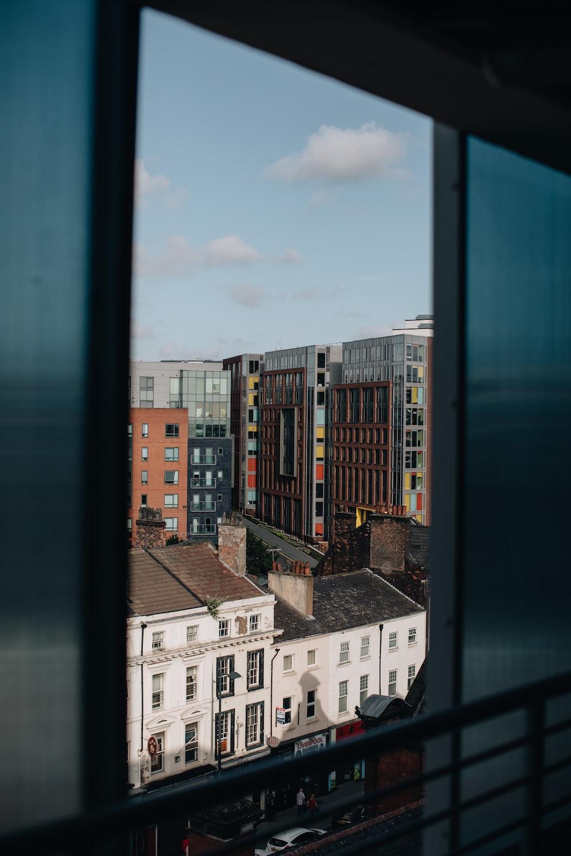 window overlooking buildings
