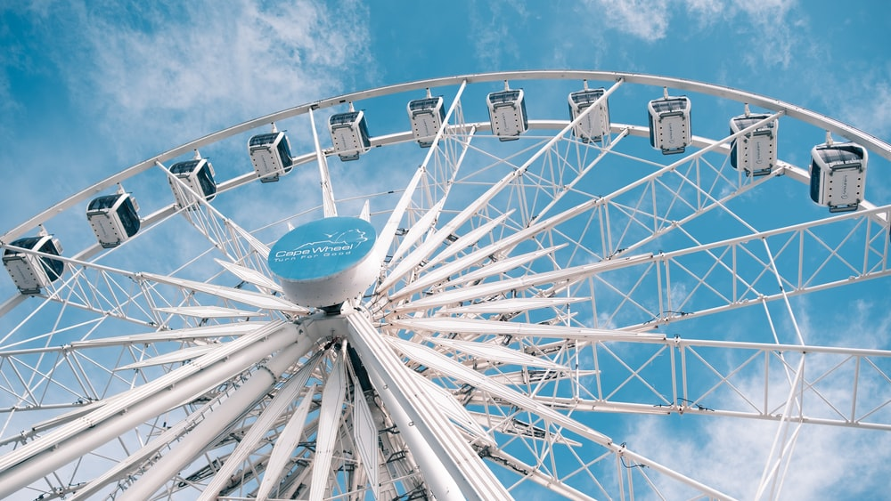 white and blue ferries wheel
