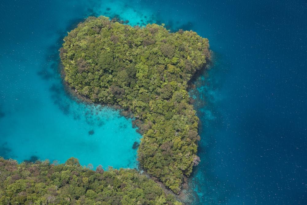 green island viewing blue sea
