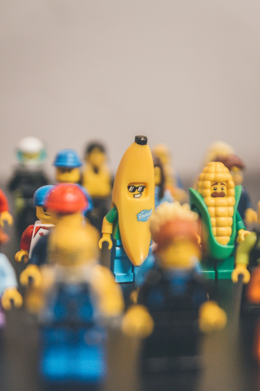 close-up photo of assorted LEGO Minifigs