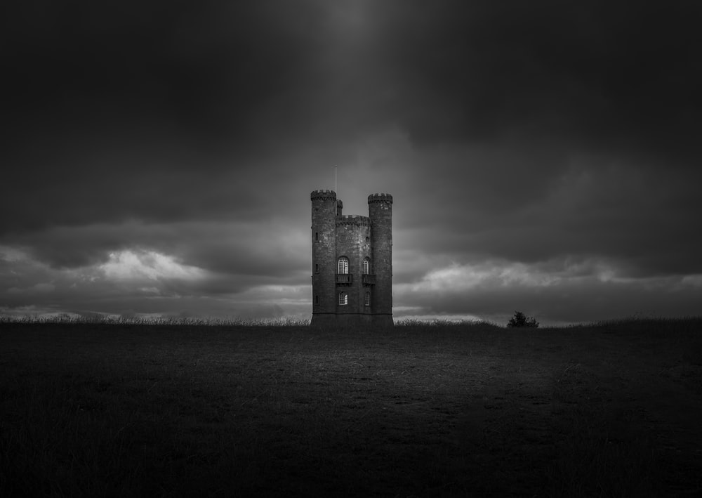 building in a field grey-scale photography