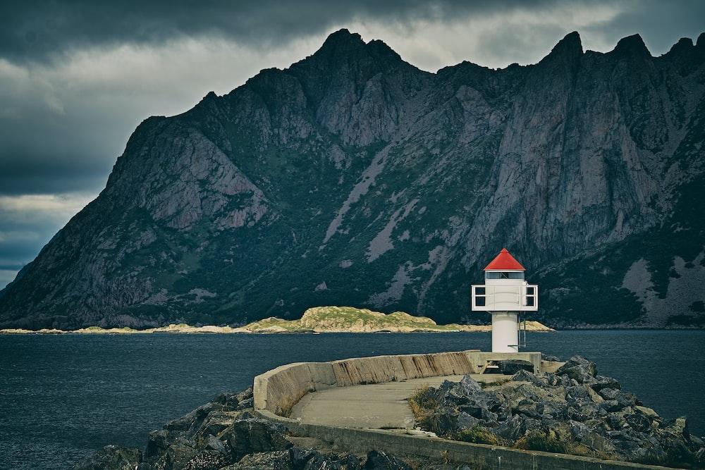 mountain beside calm sea