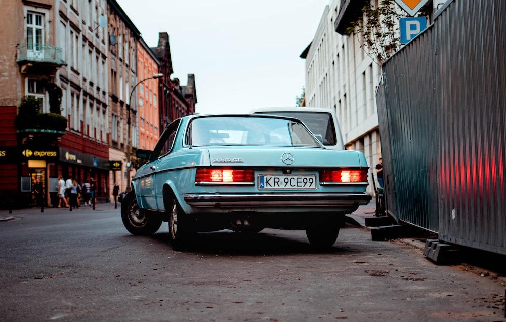 blue Mercedes-Benz coupe