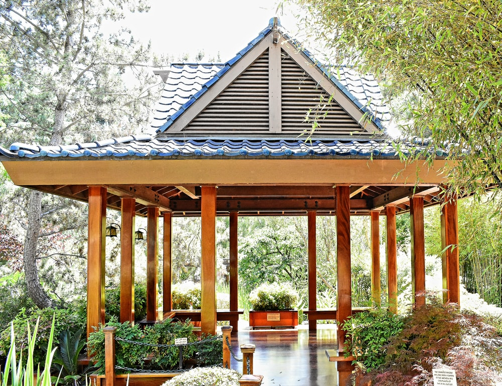 brown and blue wooden gazebo