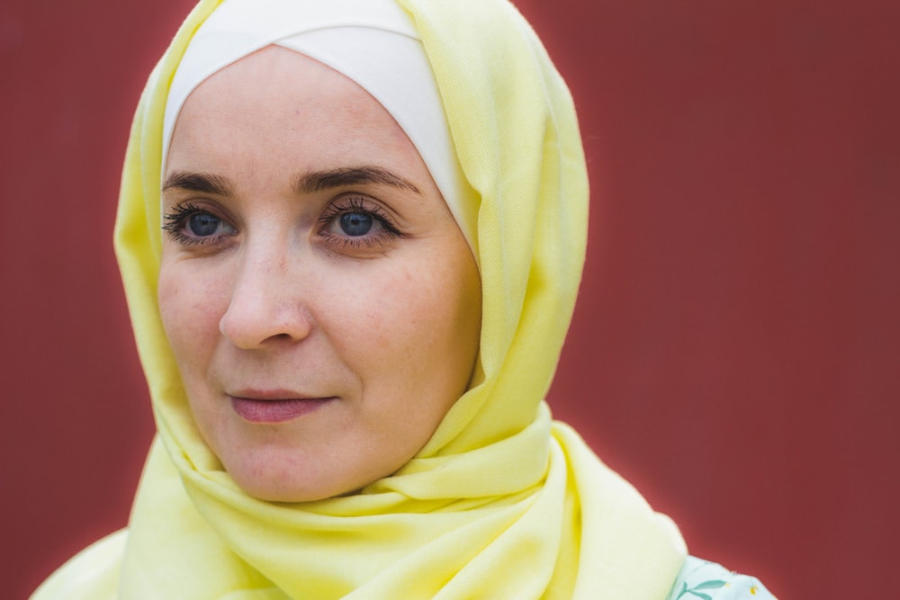 women's yellow hijab