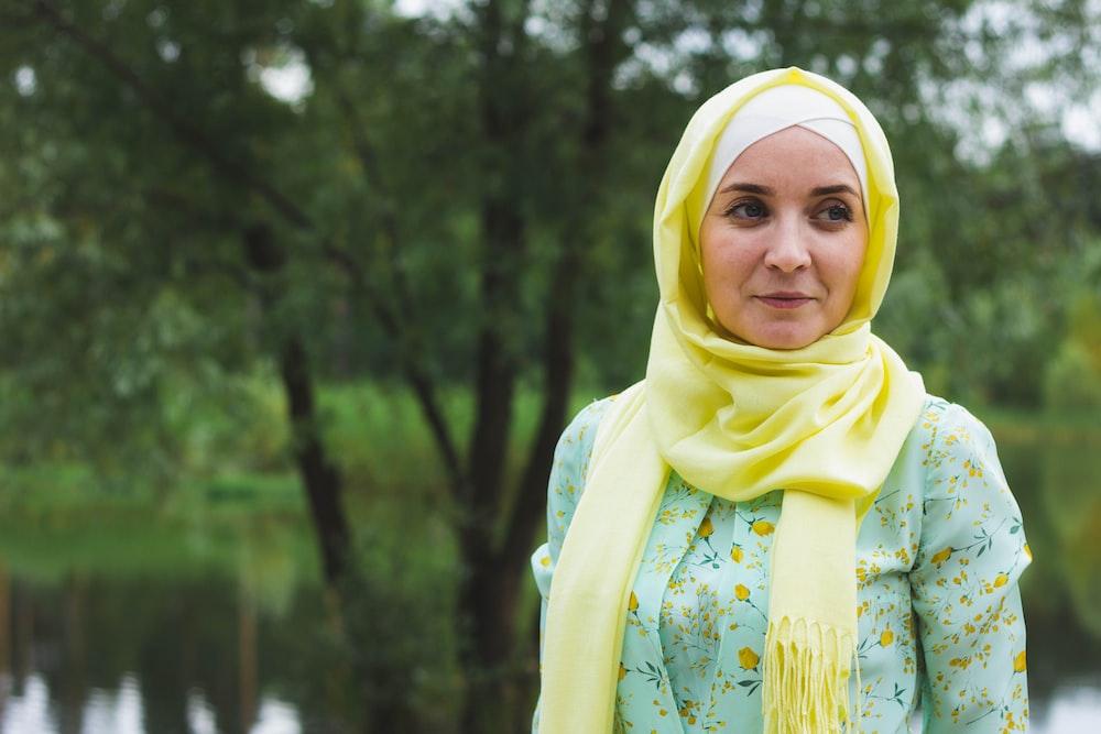 woman in yellow hijab scarf