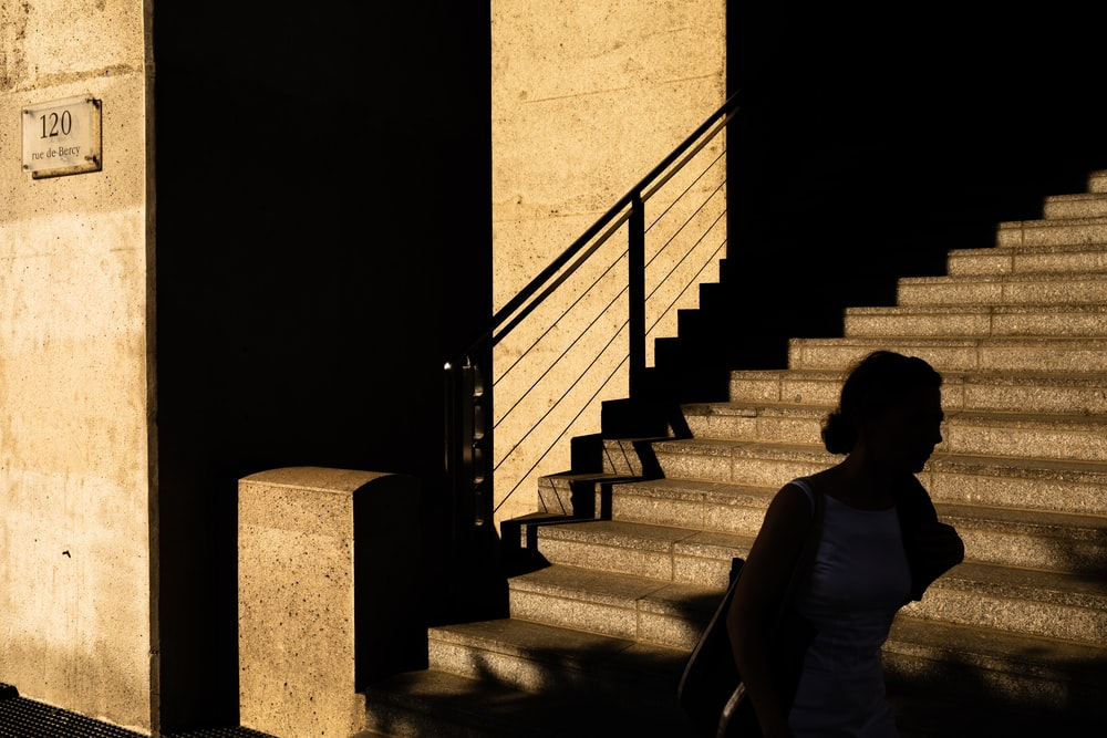 shallow focus photo of brown concrete stairs