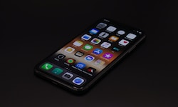 turned-on space gray iPhone X