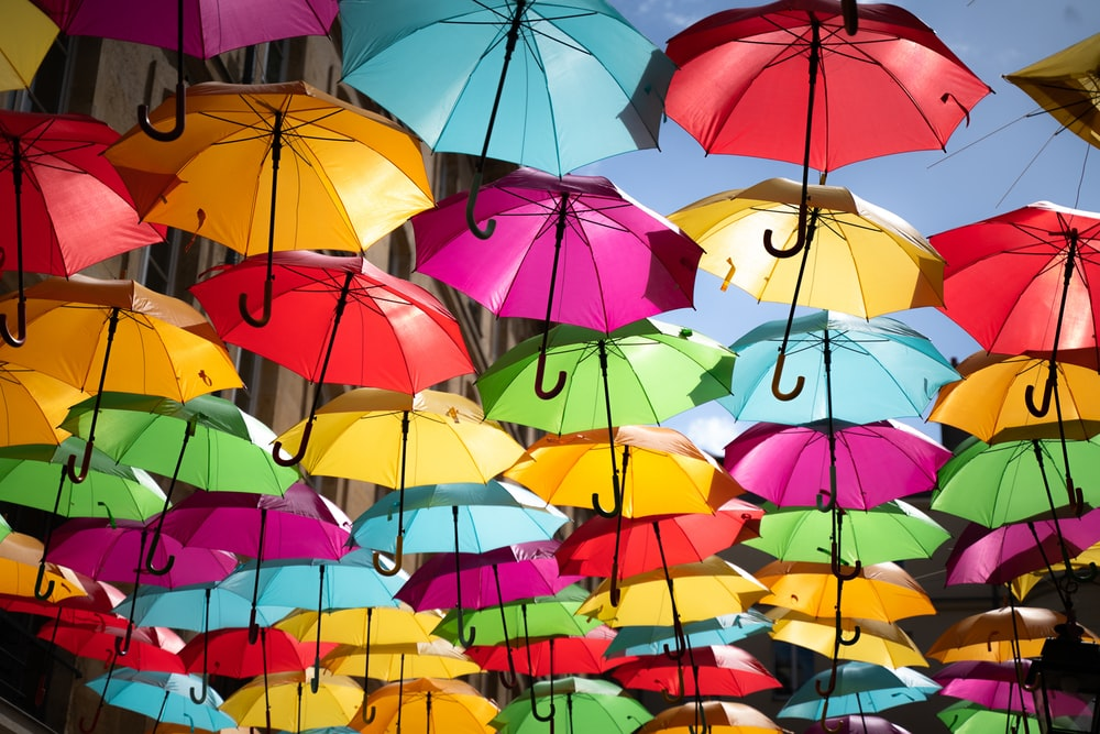 assorted-color umbrella