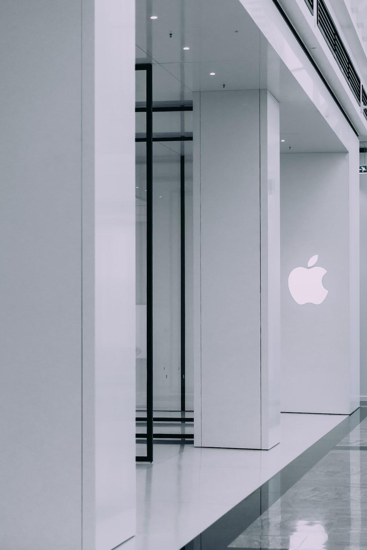 Apple logo on concrete building