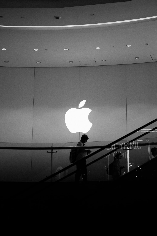 person inside Apple bulding