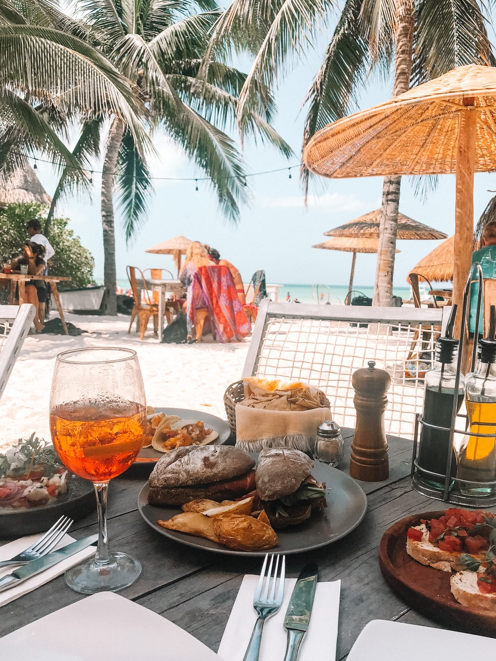 food on table at the beach during day
