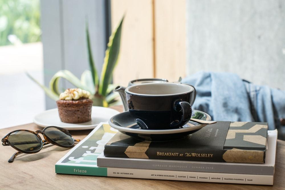 black ceramic teacup