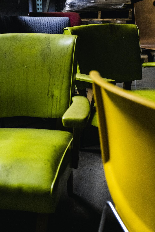 grey leather armchair