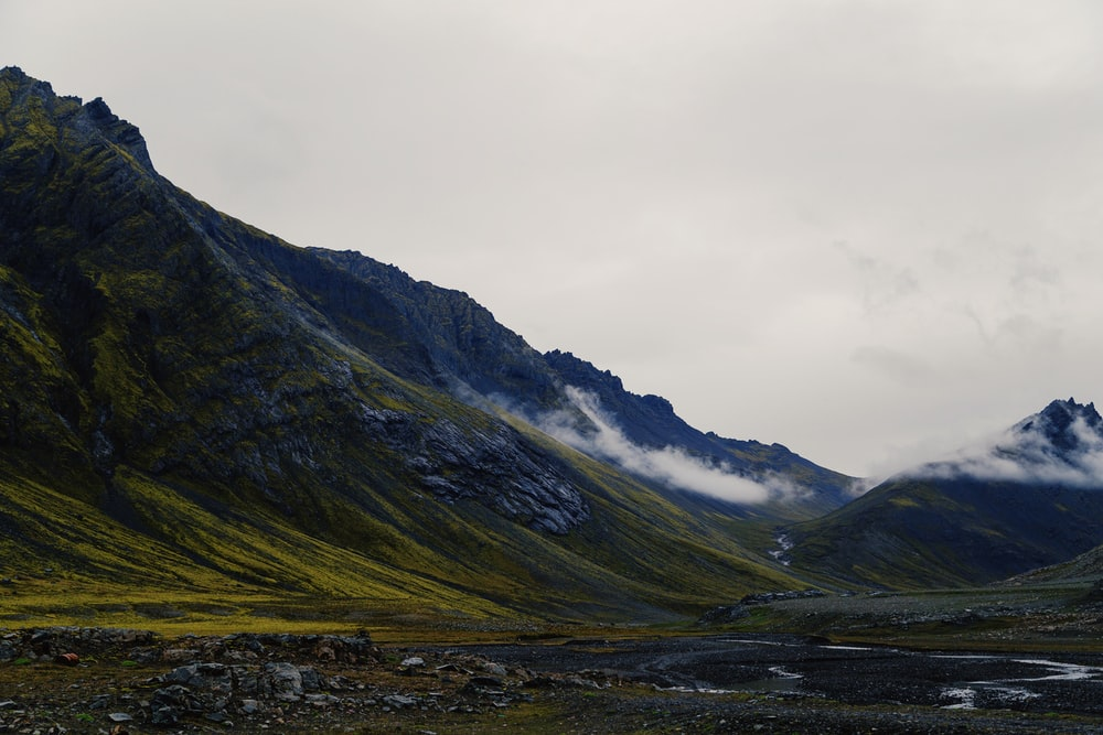 landscape photo of mountains under cloudy sky