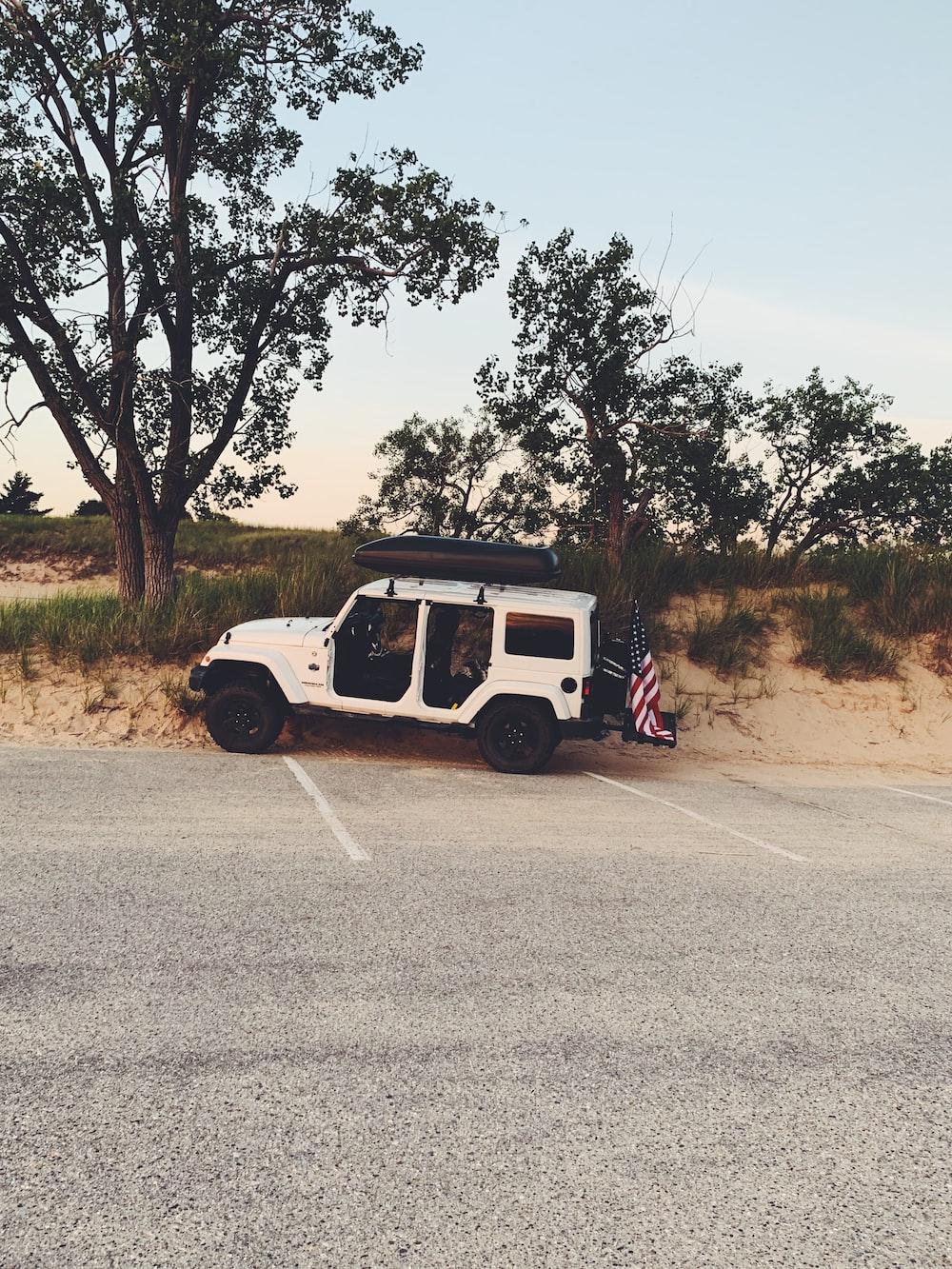 parked white SUV
