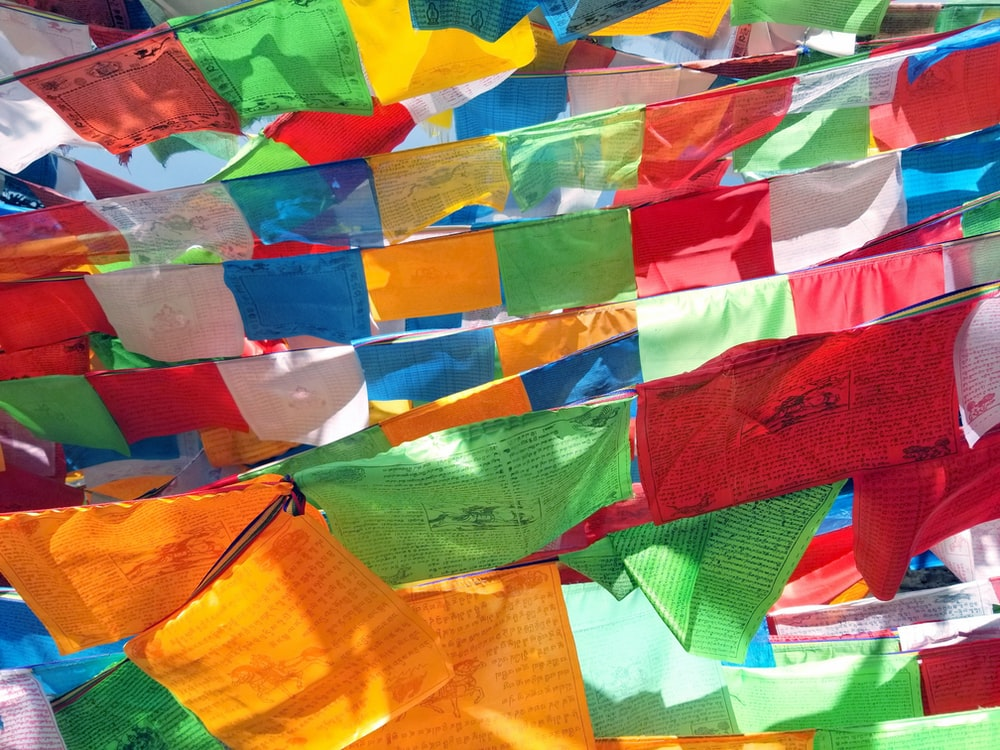 multicolored pennant flags