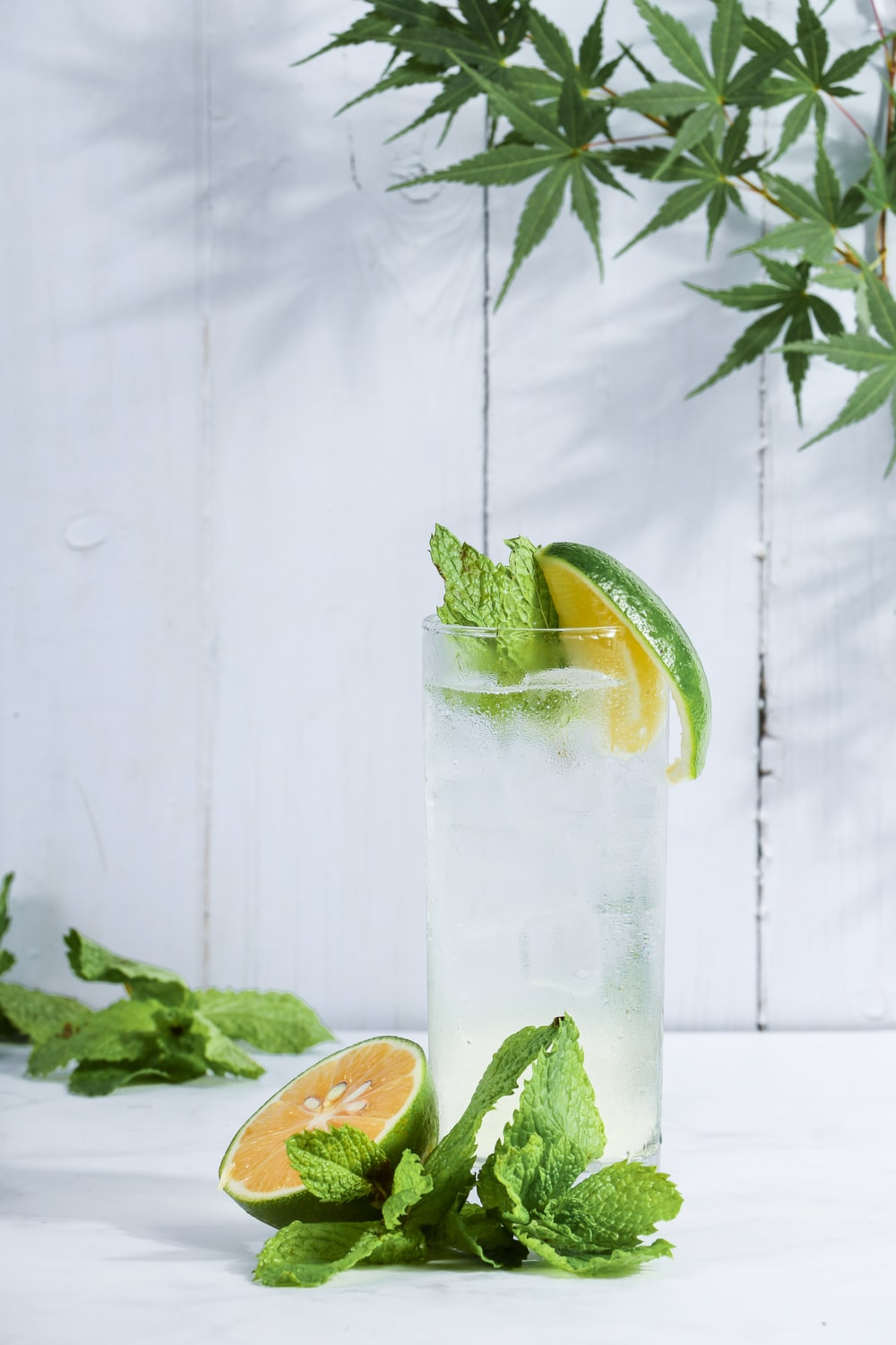 green lime beside drinking glass