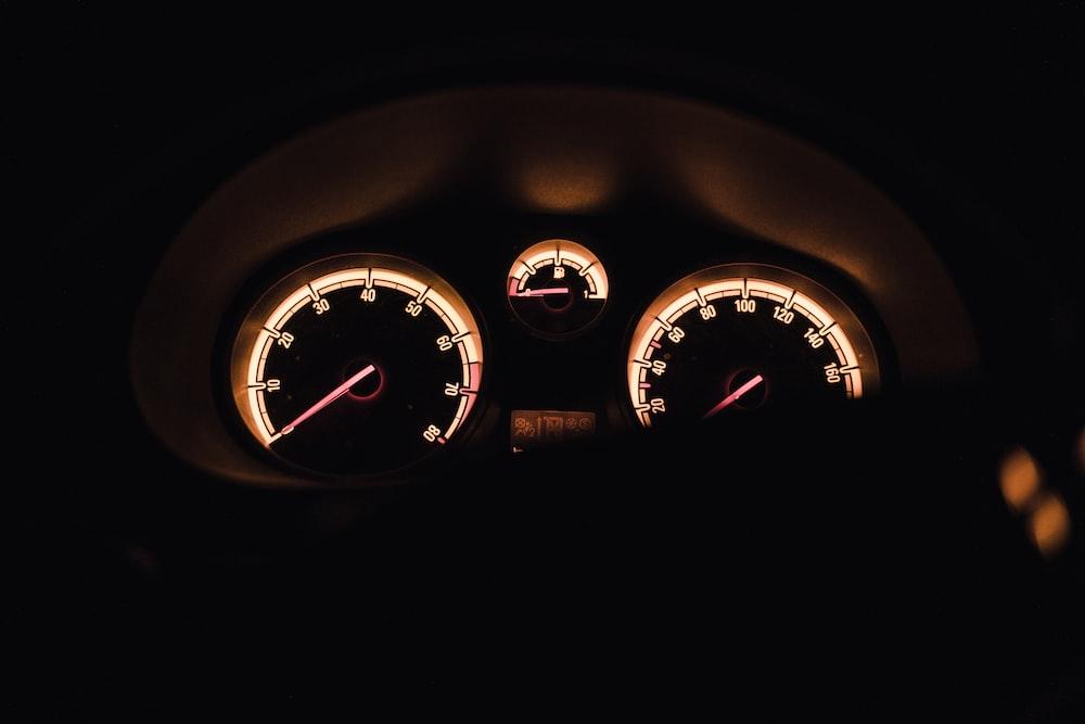 black and orange car dashboard