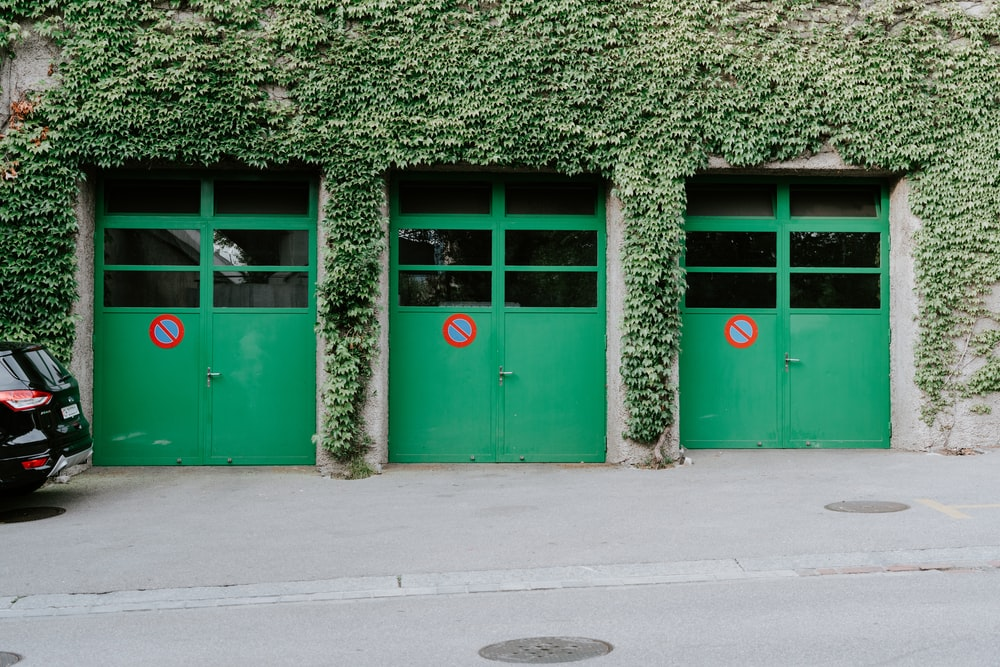 three green doors