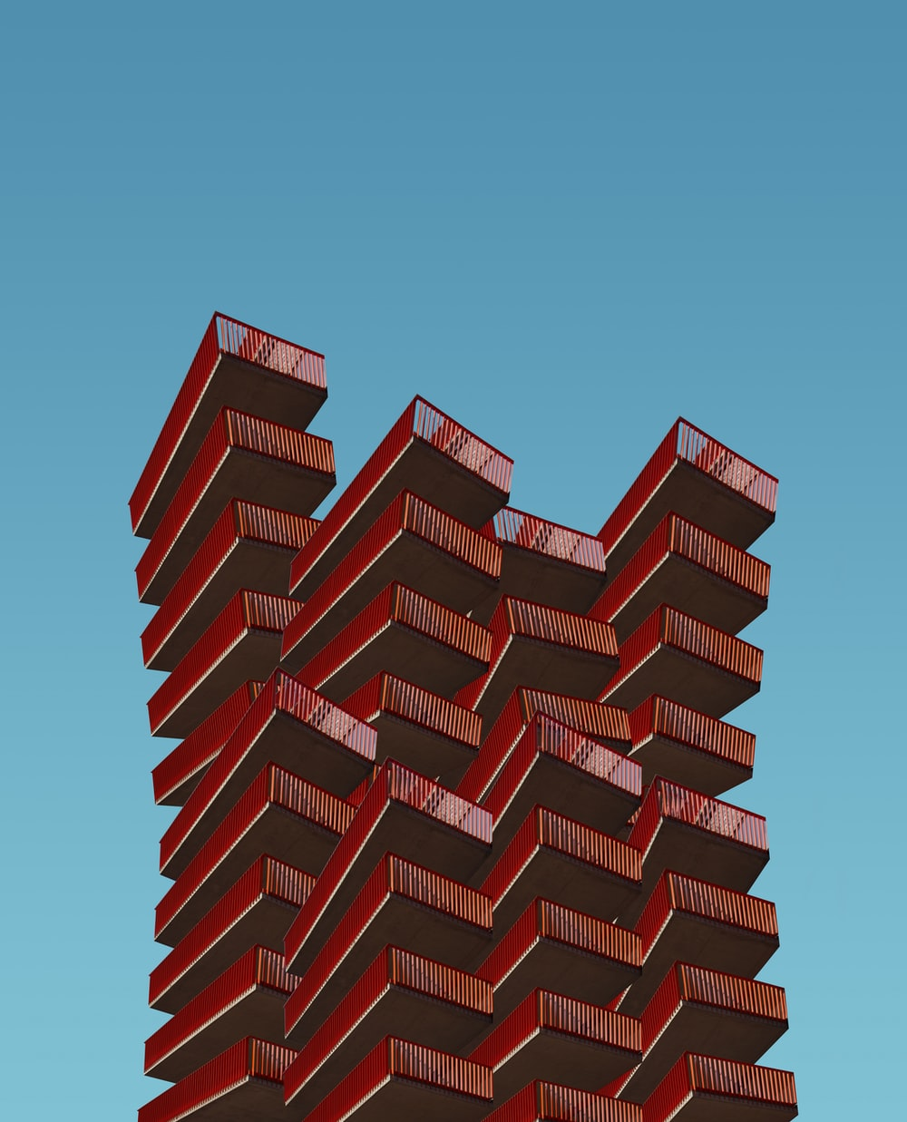 red high-rise building illustration